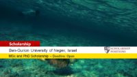 MSc and PhD Positions in Marine Biogeochemistry at Ben-Gurion University of the Negev, Israel