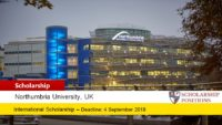 Northumbria Undergraduate Global funding for International Students in UK, 2019