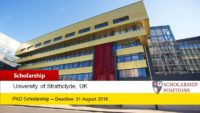 University of Strathclyde PhD Studentship for International Students in UK, 2019