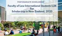 Faculty of Law International Students LLM Fee Scholarship in New Zealand, 2020