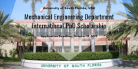 Mechanical Engineering Department of University of South Florida International PhD Scholarship in the USA