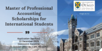 University of Otago Master of Professional Accounting Scholarships for International Students
