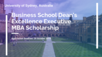University of Sydney Business School Dean's Excellence Executive MBA Scholarship