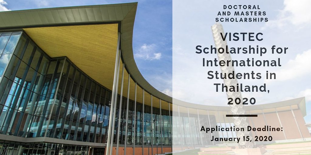 VISTEC funding for International Students in Thailand, 2020