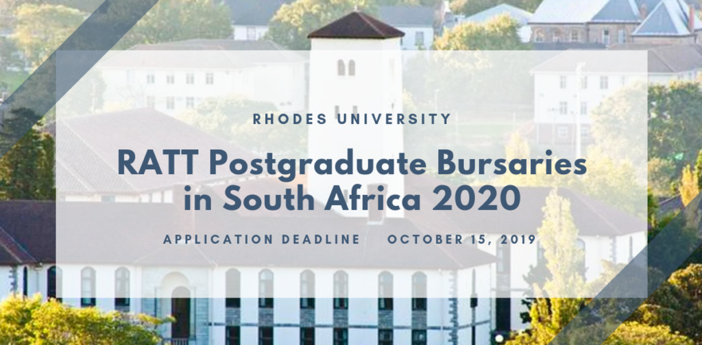 Rhodes College Graduation 2020.Rhodes University Ratt Postgraduate Bursaries In South