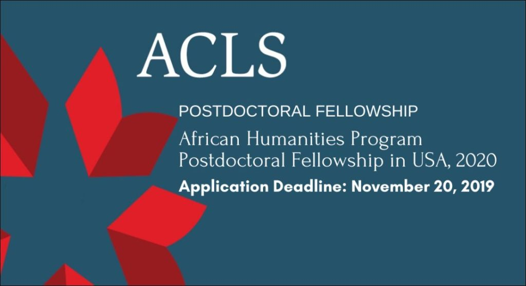 African Humanities Program Postdoctoral Fellowship in USA, 2020