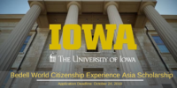 Bedell World Citizenship Experience Asia Scholarship at University of Iowa, USA