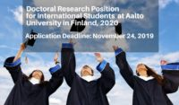 Doctoral Research Position for International Students in Multidisciplinary Education at Aalto University in Finland, 2020
