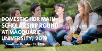 Domestic HDR Main Scholarship Round at Macquarie University, 2019
