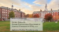 Global American Studies Postdoctoral Fellowship at Harvard University in USA, 2020