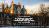 Moorhouse Doctoral Scholarships for International Students in Australia, 2020