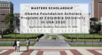 Obama Foundation Scholars Program at Columbia University in USA 2020