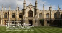PhD Studentship in Biology & Ecology of Asia at University of Cambridge in UK, 2020
