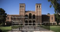 President's Postdoctoral Fellowship Program at University of California in USA, 2020