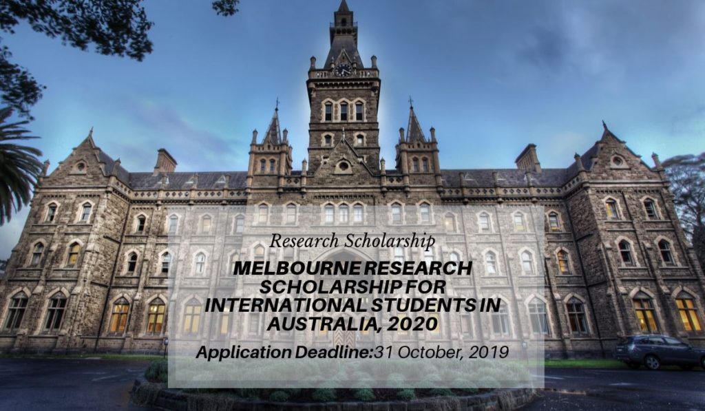 The University of Melbourne Research funding for International Students in Australia, 2020