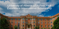 University of Alberta-USA First Year Excellence International Scholarship
