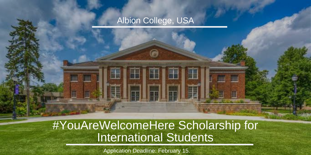 #YouAreWelcomeHere funding for International Students at Albion College, USA