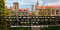 College Global Health Research Scholars Program for Domestic & International Students 2020
