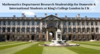 Mathematics Department Research Studentship for Domestic & International Students at King's College London in the UK