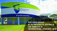 PhD Scholarship at CQ University Australia for Domestic & International students, 2020
