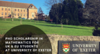 PhD Scholarship in Mathematics for UK & EU Students at University of Exeter