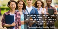 Shakespeare funding for Domestic and International Students at the University of Melbourne