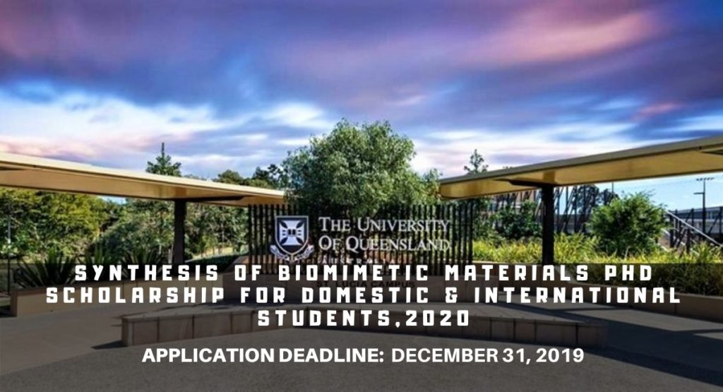Synthesis of Biomimetic Materials PhD funding for Domestic & International Students, 2020