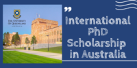 University of Queensland International PhD Scholarship in Australia