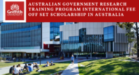 Australian Government Research Training Program International Fee Offset Scholarship in Australia