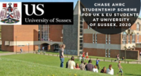 CHASE AHRC Studentship Scheme for UK & EU Students at University of Sussex, 2020