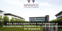 PAIS PhD Studentship for Domestic & International Students at the University of Warwick