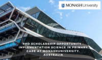 PhD Scholarship Opportunity - Implementation Science in Primary Care at Monash University, Australia