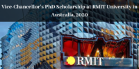 Vice-Chancellor's PhD Scholarship at RMIT University in Australia, 2020