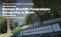 Beatrice Ratcliffe International Postgraduate Scholarship in Music at University of Auckland, New Zealand