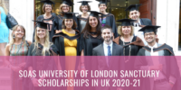 SOAS University of London Sanctuary Scholarships in UK 2020-21