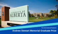 Andrew Stewart Memorial Graduate Prize for International Students at University of Alberta, Canada