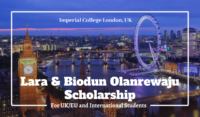 Lara & Biodun Olanrewaju funding for International Students at Imperial College London, UK