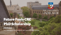 University of Adelaide Future Fuels CRC PhD funding for International Students in Australia