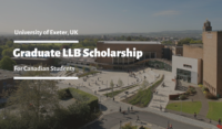 University of Exeter Graduate LLB funding for Canadian Students in the UK