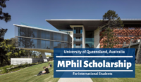 University of Queensland MPhil funding for International Students in Australia
