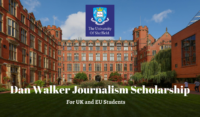 University of Sheffield Dan Walker Journalism funding for UK and EU Students