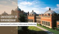 International Excellence Achievement Scholarship at University of Birmingham, UK