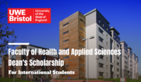 UWE Faculty of Health and Applied Sciences International Dean's Scholarships in the UK