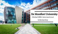 Global MBA International Scholarship at De Montfort University, UK