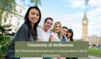University of Melbourne AG Whitlam International Undergraduate Merit Scholarship