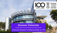 Swansea University Science Master's Scholarship in UK