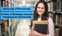 University of Portsmouth Faculty of Business and Law Postgraduate Scholarship